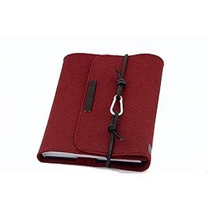 Kalender Filz bordeaux rot Hülle PERSONALISIERT Notizbuch A5 Name Einband Leder retro Vintage Geschenk Schule Abschluss Anna Rosenschön