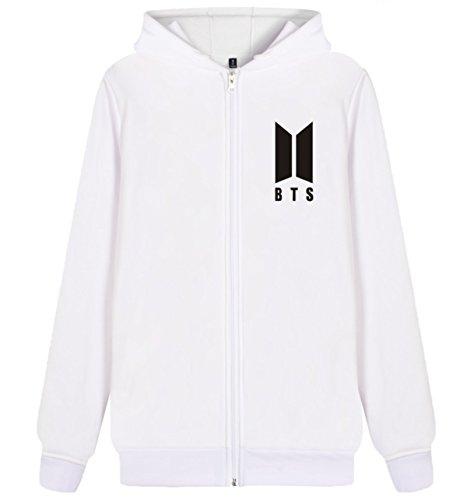 SIMYJOY KPOP BTS Fans Felpa Zip con cappuccio Pullover Hip Hop Felpa per Uomo Donna Adolescente bianca-93