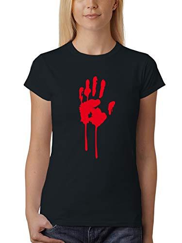 clothinx Damen T-Shirt Fit Halloween Bluthand Schwarz Größe ()