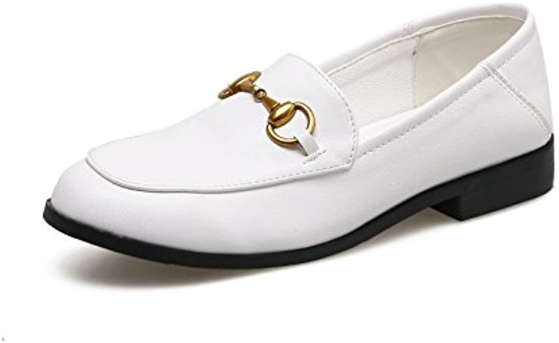 Xue Qiqi Scarpette Scarpe Scarpe Scarpe basse con tacco basso a spillo stile inglese femminile, scarpe da donna, 36, bianche   Molti stili  25bb3a