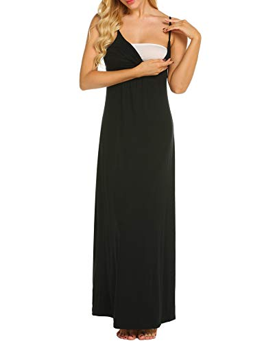 MAXMODA Maternity Kleid, Damen Umstandsmode Sommerkleid Festliches Umstandskleid Schwangeren Kleider Mutterschaftskleid Nachthemd Schwangerschaft Stillkleider Schwarz