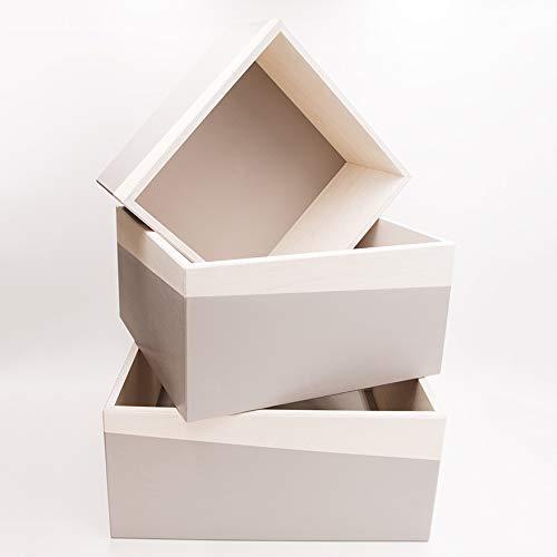 """Edle Wandregal-Boxen im 3er-Set aus modernem Multiplex-Furnierholz (Birke) mit Farblackierung """"Mittelgrau"""" für Küche, Wohnbereich, Kinderzimmer, Büro oder Schlafzimmer (3 Birke Bücherregal Regal)"""