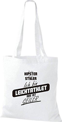 Shirtstown Stoffbeutel du bist hipster du bist styler ich bin Leichtathlet das ist geiler weiss