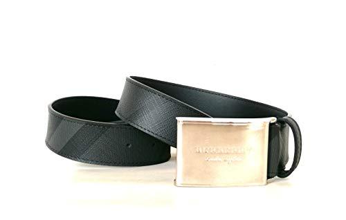 Burberry cintura uomo in pelle con motivo London check 80155801 nero fumo scuro (100 CM)