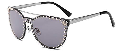 DAIYSNAFDN Übergroße Sonnenbrille Damen Metall Design Rosa Brille Herren Uv400 C2Silver Gray