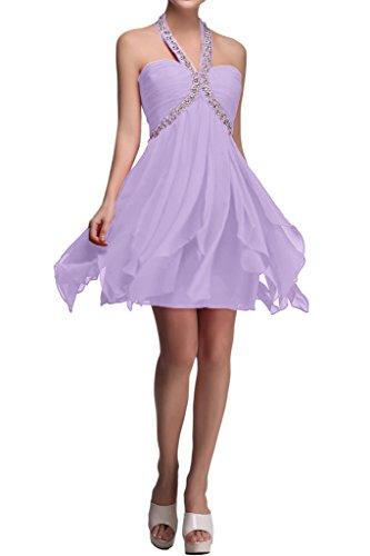 Sunvary Suess Neu Chiffon Neckholder Kurz Ruesche 2016 Perlen Pailette Festkleid Cocktailkleider Abschlussballkleider Lilac