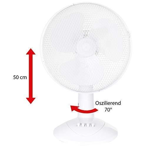 LEX XXL Tischventilator Ventilator Ø30 cm, 3 Geschwindigkeiten, Oszillation, 50cm, Farbe:Weiß