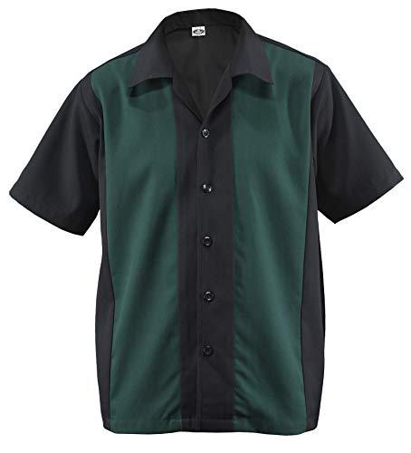 Cabin Cabana Shirt Worker Hemd Rockabilly Two Tone Gabardine Lounge Fifties Vintage Retro Double Panel D600 (M/Medium, Schwarz/Grün) ()