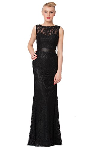 SEXYHER Charming Lace Covered Long Evening Bridesmaid Dress – EDYP8007(BLACK,UK22)