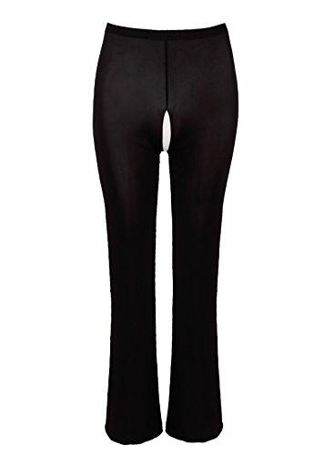 FEESHOW Damen Sexy Pants Ouvert Leggings Transparent Unterwäsche Lange Netz Hose Reizwäsche offen Schritt Schwarz/Weiß Schwarz Ouvert XL