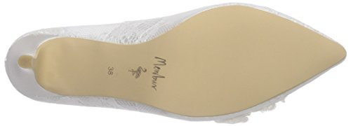 Menbur Wedding Lucia, Chaussures à talons - Avant du pieds couvert femme Blanc - Elfenbein (Ivory 04)