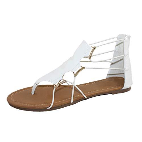 Flach Schuhe Kreuzriemen Knöchel Sandalen Zehentrenner Damen PU Leder Sommerschuhe Sandaletten Frauen Böhmen Bandage Schuh Offene Flache Strandschuhe (Weiß, 35) Pu-frauen-schuhe