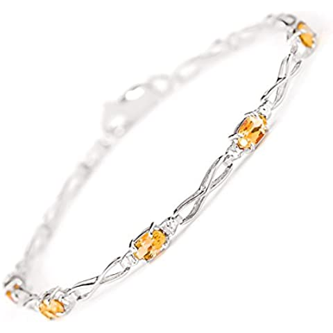 QP Jewellers & citrino Natural Diamond-Bracciale in oro bianco 9 ct, taglio ovale, 3901W 1,15ct
