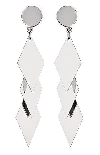 Boucles d'oreilles clips - Plaqué argent avec trois formes de diamant liées - Kallie S par Bello London