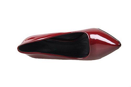 AalarDom Femme Commerce Pointu Stylet Chaussures Légeres Rouge