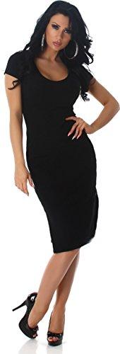 Donne abito da cocktail del partito del vestito da sera abito abito manica corta lunghezza spalline con scollo a V al ginocchio Nero
