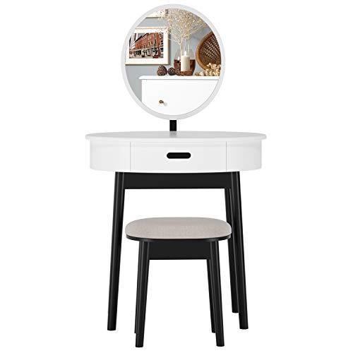 Homfa Schminktisch Kosmetiktisch Frisierkommode Frisiertisch mit Spiegel Frisiertischchen 1 Schublade Schreibtisch Arbeitstisch modern weiß Holz Tisch(133,5x74,5x53,5cm) Hocker(30x40x44cm)