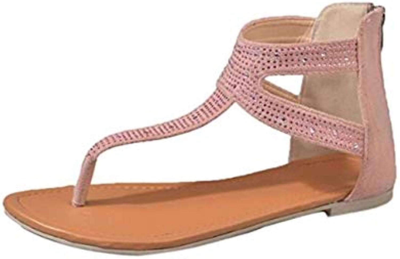 jiemite chic sexy femmes diamond zipper gladiateur faible flat flat flat tongs sandales de plage bohemia chaussures (couleur: rose... bf050d
