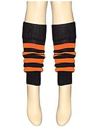 Pair of Girls Neon Leg Warmers age 4 to 12 (Black & Orange)