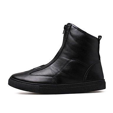Aiurbag Pour Les Hommes-bottines-casual-confortable-flat-pu (polyuréthane) -black White Gold Noir