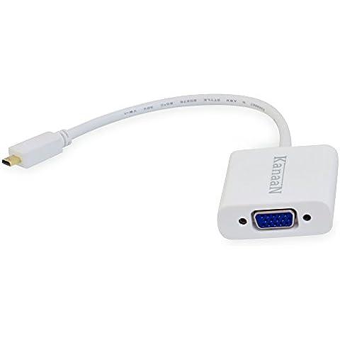 KanaaN KN40542 - Cable adaptador de Micro HDMI a VGA con salida de audio, color blanco