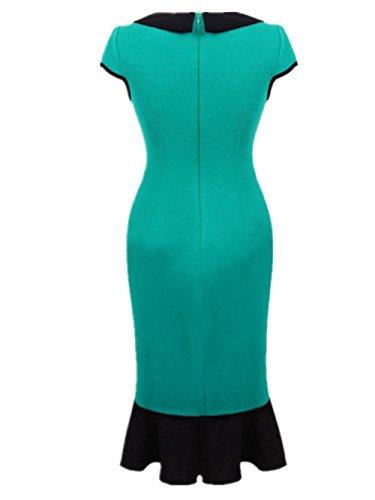 Chez BoBos Robe de Soirée Femme Dentelle Queue de Poisson Collier de Poupée Robe Crayon Vert