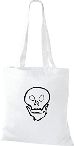 ShirtInStyle Stoffbeutel Skull Totenkopf Schädel diverse Farbe white