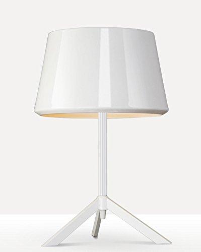 LED Nachttischlampe schwarz und weiß Persönlichkeit Dekoration, Eisen Lampe Studie Coffee Shop (Color : White) - Metallic-yoyo