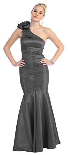 One-Shoulder-Kleid Abendkleider Lang Abi-Ballkleider Meerjungfrau-Kleid Mermaid Abschlusskleid Festliche Elegante Damen Abendmode für Hochzeit Grau Silber