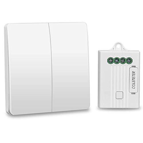 Kit 2 Interrupteurs Sans Fil Radiocommandé | Portée 200M | 20 Ans Autonomie | 5 Ans Garantie | Va et Vient Interrupteur Aimanté Compatible Tout Type Éclairage ON/OFF (2 interrupteur et 1 recepteur)