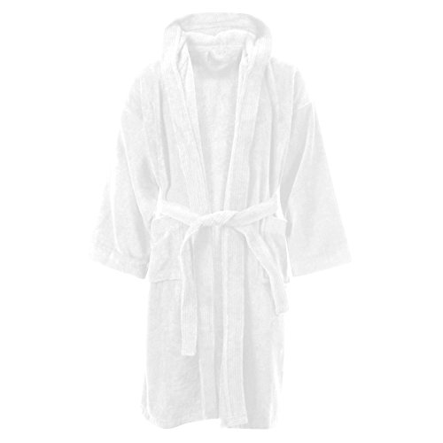 MyShoeStore Kids Boys Girls Bathrobe 100% Egyptian Cotton Luxury Velour Towelling Hooded Dressing Gown Soft Fine Comfortable Nightwear Terry Towel Bath Robe Lounge Wear Housecoat
