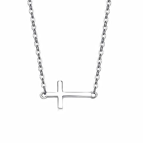 EVERU Simple Femme en Argent 925/1000 Collier avec Croix Horizontale Pendentif Religieux Fine Bijoux