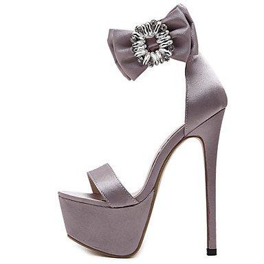 LvYuan Femme Sandales Polyuréthane Eté Noeud Talon Aiguille Noir Rose 12 cm & plus blushing pink