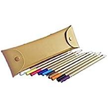 Sintética Ran nueva plegable doble cierre Pen Lápiz caso bolsa de almacenamiento de papelería Container Organizador de soporte–amarillo