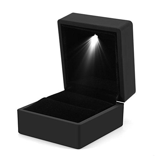 Ring Schachtel mit LED Licht Ringbox Aufbewahrungsbox Schmuck Vitrine Geschenk (Schwarz)