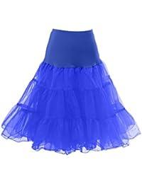 HIMRY Jupon Retro Vintage Petticoat Tutu, élastique Taille, Jupon de style année 50, Crinoline sans Cerceau, Longueur du genou, 2 couches, KXB-0007
