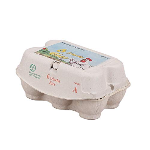 Wertpack 45x Eierverpackungen, Eierkarton, Holzschliff, Cappuccino oder Rapsgrün, 6 Eier