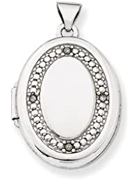 14K WG 21mm Oval Diamond with Texture Locket by UKGems