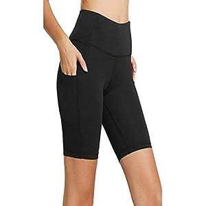 Fuibo Damen Fitness Damen Shorts, Kurze Yogahose, Schnell Trocknende Trainieren Sporthose mit Taschen, Hohe Taille Sport Leggings, Classics Stretch Workout Fitness Jogginghose