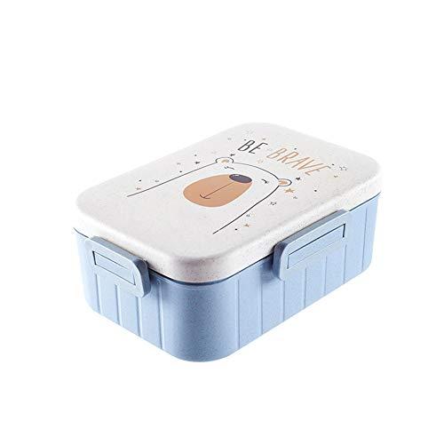 HZNLLQ BPA Freie Brotdose, Tragbare Cartoon-Kunststoff-Brotdose Mit Löffel Gabel Stäbchen Für Kinder Studenten Camping Food Container Mircrowave Bento-Box,Blau