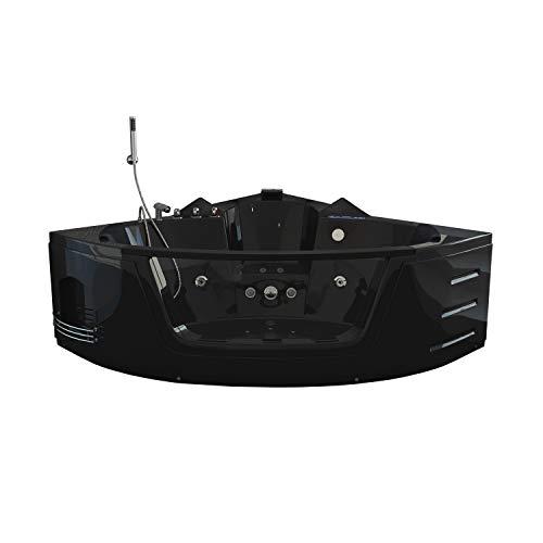 Home Deluxe - Whirlpool - Laguna L schwarz - Maße: 157 x 157 x 65 cm - inkl. vielen Extras