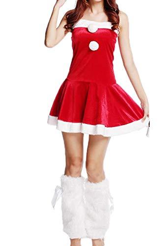 Huateng Winter Frauen Sexy Weihnachten Weihnachtsmann Phantasie Party Kleid Kostüm (Kleid Sally Halloween)
