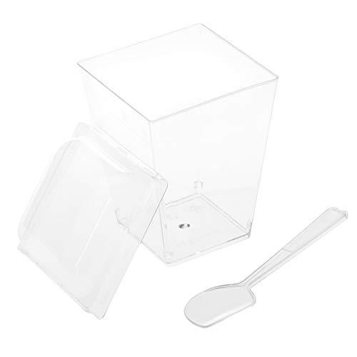 BESTONZON 20 Sätze Dessertbecher mit Deckel und Löffel Dessertschale Eisbecher Plastik Fingerfood Schalen Becher für Weihnachten Party 150 ML (Transparent)