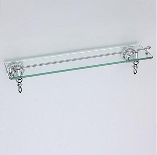 Étagère simple en verre trempé de salle de bain, étagère de maquillage en verre de salle de bain, cadre avant en cuivre Étagère (Couleur : B, taille : 52cm*12cm)