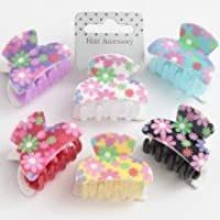 Pretty Floral Pattern Acrylic Hair Clamp/Grip