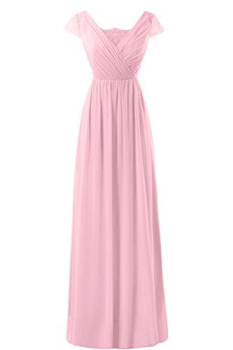 Gorgeous Bride Modisch Kurz Aermel A-Linie Chiffon Spitze Lang Abendkleider Cocktailkleid Ballkleider Rosa