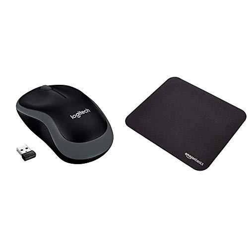 LOGITECH Wireless Mouse M185 Swift Grey WER Occident Packaging & AmazonBasics - Mini-Gaming-Mauspad - M185 Logitech Mouse Wireless