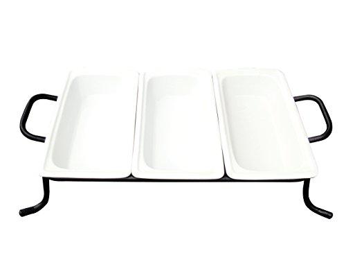 ebensmittel Pfannen Drei Hellen weiß Porzellan 1/3GN Pfannen auf Rack, 12-3/4durch 6-7/8von 2-1/2Zoll, 4er Pack ()