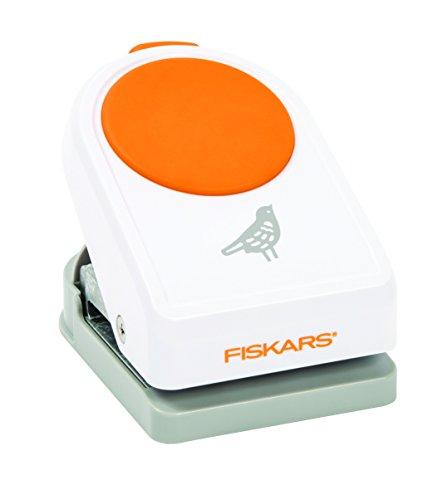Fiskars Motiv-Stanzer, Vogel, Ø 5 cm, Qualitäts-Stahl/Kunststoff, Weiß/Orange, Intricate Shape Punch, XL, 1020689