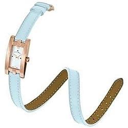 Jacques Du Manoir Swiss Made Ladies Rose Gold Colour Case & Light Blue Leather Strap
